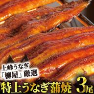 B-368 上峰うなぎ「柳屋」鰻蒲焼 3本