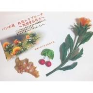 A-037 パンの花 紅花入りブローチ(天然真珠付き)2