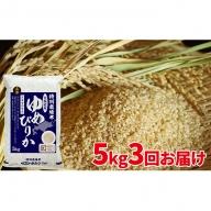 【令和元年産新米】玄米 北海道赤平産ゆめぴりか特別栽培米5kg×3回お届け