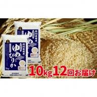 【令和元年産新米】玄米 北海道赤平産ゆめぴりか特別栽培米10kg×12回お届け