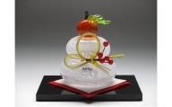 ガラス置物<鏡餅(小)> ◆マルティグラス[A0537]