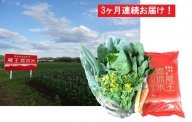 【3ヶ月連続】蔵王源流米5kg&季節の恵みセット(3~5品程度)