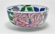 A60-10 源右衛門窯 染錦紫牡丹絵(麺鉢)