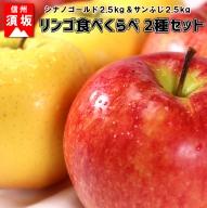 【信州須坂のりんご】食べくらべ二種セット 約5kg