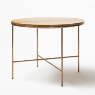 【FIL】ラウンドテーブル MASS Series 900 Round Table -Natural Wood & Copper Frame-