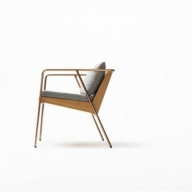 【FIL】MASS Series Dining Chair-Natural Wood & Copper Frame