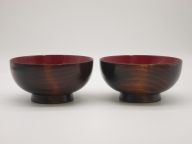 G5801 川連漆器 木目汁椀 ペア
