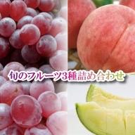 030069. 旬のフルーツ3種詰め合わせ(デラウェア・メロン・白桃)