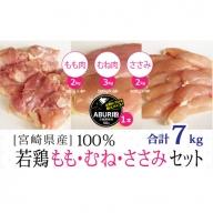 宮崎県産若鶏もも&ささみ&むねセット7kg【B279】