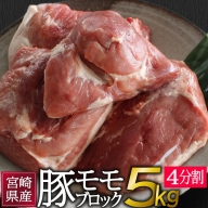 宮崎県産<豚モモブロック>5kg(4分割)※60日以内に出荷【B137】
