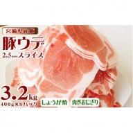 宮崎県産豚<合計3.2kg(ウデスライス 400g×8パック)>【B362】