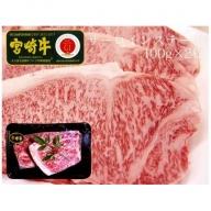 <宮崎牛>サーロインステーキ 合計200g(100g×2枚)【B357】