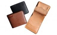 レザー二つ折財布ハーフ(黒・茶・ナチュラル)100×120×25mm