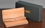 レザー二つ折財布ロング(黒・茶・ナチュラル)サイズ200×95×18mm
