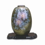 040025. 【九谷焼で四季の花を】花瓶(8号)・牡丹(台付)(1273)