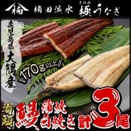 b0-009 楠田の極うなぎ特大 蒲焼き2尾・白焼き1尾