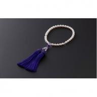 7.5mm-8mmアコヤ真珠念珠(正絹・桐箱付き)「紫」 H-188