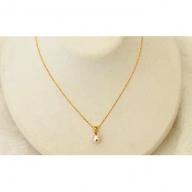 若狭パール艶々あこや真珠 至宝の7mmダイヤとK18ペンダント H