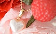 若狭パールあこや真珠のハートK18ペンダント M