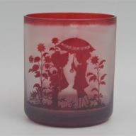 【C0-028】オリジナルオーダー彫刻 色被せオールドグラス(赤)