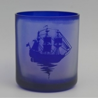 【C0-029】オリジナルオーダー彫刻 色被せオールドグラス(青)