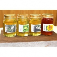 AR01_4種類の花の香りを楽しむことができる純水国産蜂蜜セット〔アカシア・ユリノキ・エゴ・ヒマワリ〕