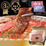 F−074.佐賀牛 カルビ焼肉カット 200g/3P ギフト