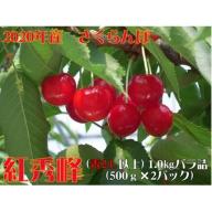 H-03320 【先行予約】2020年産山形県河北町産さくらんぼ(紅秀峰)1.0kgバラ詰(500g×2パック)