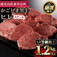 【77428】鹿児島県産黒毛和牛!A4・A5等級ヒレステーキ1.2g超(約140g×9枚)ほどよいサシの入った国産赤身牛肉のヒレステーキ!【デリカフーズ】