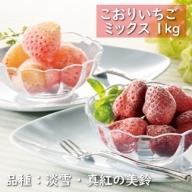 【数量限定!】こおりいちご ミックス 1kg 品種:淡雪(あわゆき)・真紅の美鈴(しんくのみすず)