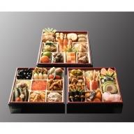 EE02.日本料理てら岡・おせち「博多雅三段重」+博多水炊きセット(3~4人前)