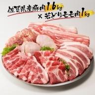 丸福 佐賀県産豚肉1.6kgと若どりモモ肉1kg