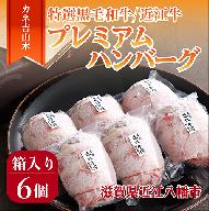 【カネ吉山本】特選黒毛和牛/近江牛 プレミアムハンバーグ 6個箱入【Y050SM-C】