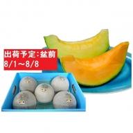 8月盆前 津軽のメロン約8kg(赤肉・青肉セット)4~6玉・秀~優