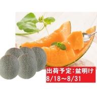 8月盆明け 津軽の赤肉メロン約8kg・4~6玉・秀~優