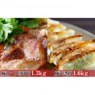 オホーツク佐呂間 老舗精肉店特製 サロマ豚 薄切り1.3kg・ひき肉1.6kgセット