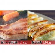 オホーツク佐呂間 老舗精肉店特製 サロマ豚 厚切り1.3kg・ひき肉1.6kgセット