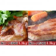 オホーツク佐呂間 老舗精肉店特製 サロマ豚 薄切り1.3kg・厚切り1.3kgセット