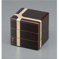 F5603 川連漆器 三段重箱 6.5分溜内朱