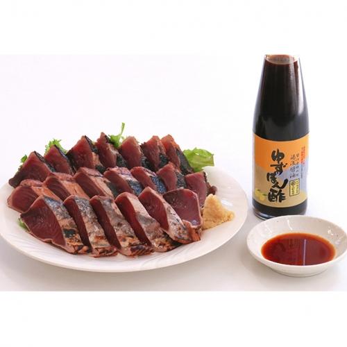 【湯浅町×串本町】黄金藁焼一本釣り戻り鰹タタキ1kgと柚子ポンズ200mlのセット