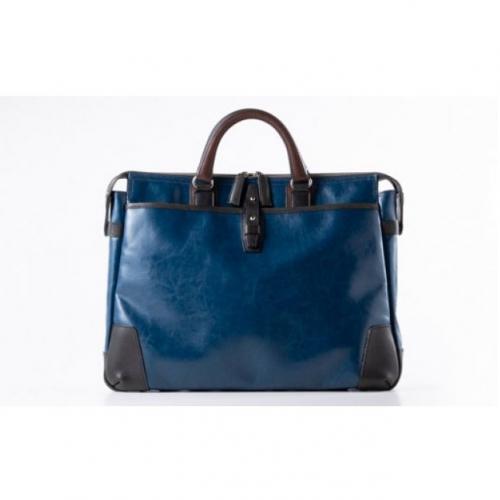 豊岡鞄帆布PU×皮革ソフトブリーフ(24-110)ブルー