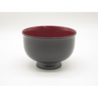 B5804 川連漆器 ゆり型汁椀 溜内朱