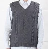大江の職人の手動編みオーダーメイドカシミア100%Vベスト(男性用)