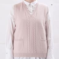 大江の職人の手動編みオーダーメイドカシミア100%Vベスト(女性用)