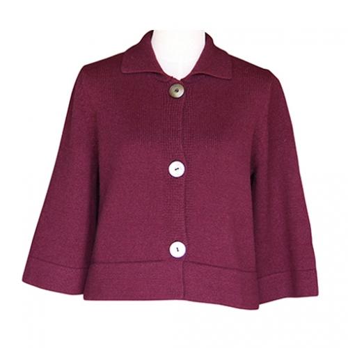 大江職人手動編み オーダーメイドカシミア100% ニット婦人三ッボタン衿付ジャケット