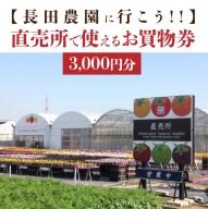 【長田農園に行こう!!】直売所で使えるお買物券 3,000円分 H004-039