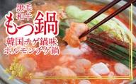 もつ鍋 韓国チゲ鍋味(ホルモンチゲ鍋)セット 土佐しらぎく(清酒)付き