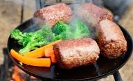 焚き火フライパン+満点ハンバーグ8個おろし醤油たれ付【キャンプ】【アウトドア】