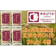 【3ヶ月定期配送】ホクレンゆめぴりか(玄米12kg)ANA機内食採用