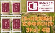 【5ヶ月定期配送】ホクレンゆめぴりか(玄米12kg)ANA機内食採用